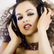 Stock Photo: DJ girl in headphones