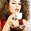 Stock Photo: Beautiful womdrinking coffee