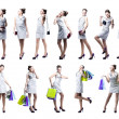 Stock Photo: Young beautiful womwith shopping bags and handbag