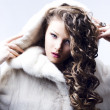 Stock Photo: Beautiful lady in fur coat