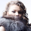 Beautiful lady in fur — Stockfoto