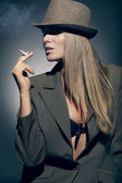 Retrato de menina bonita no chapéu — Foto Stock