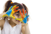 Beautiful girl playing with colors — Stock Photo