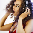 DJ girl in headphones — Stock Photo