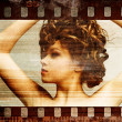 Grunge film frame. Retro shot. Fashion art photo — 图库照片