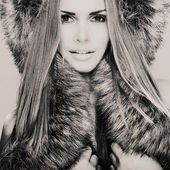 Beautiful model with fur — Foto de Stock