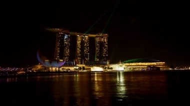 Mariene bay sands laser show, time-lapse — Stockvideo