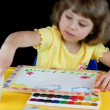 Little girl playing with watercolors — Stock Video