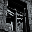 Stock Photo: Window of abandoned house. Black and white