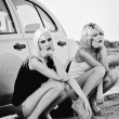 Foto Stock: Two beautiful blonde girls sitting near broken car and waiting for help