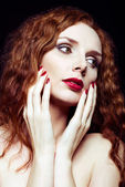 Closeup portrait of pretty red-haired girl — Stock Photo
