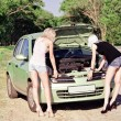 Two blonde girls standing by the broken car — Stock Photo #43974199