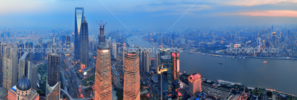 Shanghai aerial view with urban architecture and sunset panorama — Stock Photo #13184405