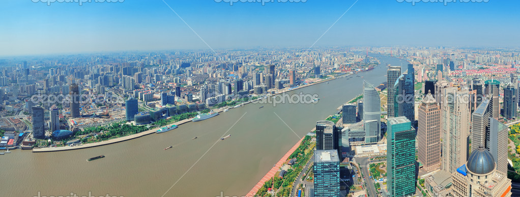 Shanghai city aerial view panorama with urban architecture over river and blue sky in the day. — Stock Photo #13506693