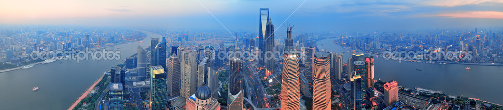 Shanghai aerial view with urban architecture and sunset panorama — Stock Photo #13506756