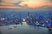 Shanghai aerial at sunset — Stock Photo