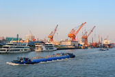 Shanghai Huangpu River with boat — Stock Photo