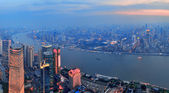 Shanghai aerial at sunset — Stock Photo