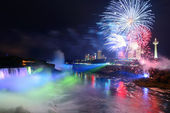 Niagara Falls and fireworks — Stock Photo