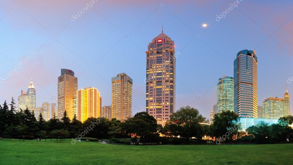 Shanghai urban architecture panorama at dusk in park.  Stock Photo #14246781