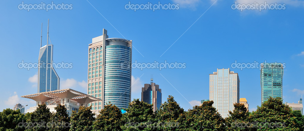 Shanghai urban architecture and skyline panorama over park  Stock Photo #14246795
