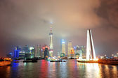 Shanghai skyline and Monument — Stock Photo