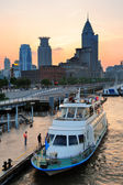 Shanghai Huangpu River with boat — Stock Photo