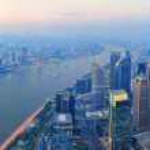 Shanghai aerial at sunset — Stock Photo #15270167