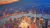 Shanghai sunset aerial view — Stockfoto
