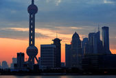Shanghai morning skyline silhouette — Stock Photo