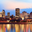 Stock Photo: Montreal over river at sunset