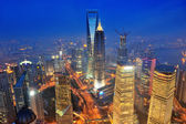 Shanghai aerial at dusk — Foto Stock