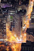 Flatiron Building in downtown Manhattan New York City at night — Stock Photo