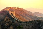 Tramonto della grande muraglia — Foto Stock