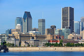 Montreal city skyline over river — Stock Photo