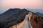Puesta de sol de gran muralla — Foto de Stock