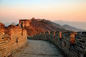 Coucher de soleil de grande muraille — Photo