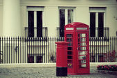Telephone booth and mail box — Stock Photo