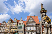 Roland and old town of Bremen, Germany — Stock Photo