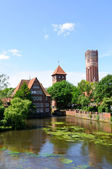 The canals and the city of Lüneburg — Stock Photo