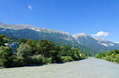 Inn river and Cityscape of Innsbruck in Austria — Stock Photo