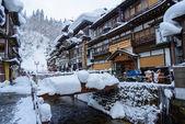 Distrito histórico de ginzan onsen-no inverno — Fotografia Stock