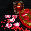 Valentine Hearts candle and candy — Stock Photo