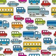 Stok Vektör: Cartoon cars seamless pattern.