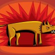 Angry dog over red flash background. — Imagen vectorial