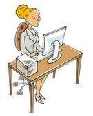 Attractive office worker. — Stock Vector