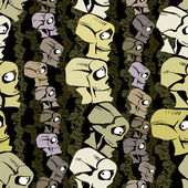 Cartoon skulls seamless pattern. — Stock Vector