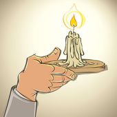 Hand with candle. — Stock Vector