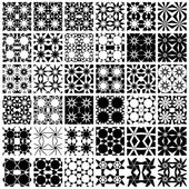 Set of 36 monochrome geometric seamless patterns. — Stock Vector