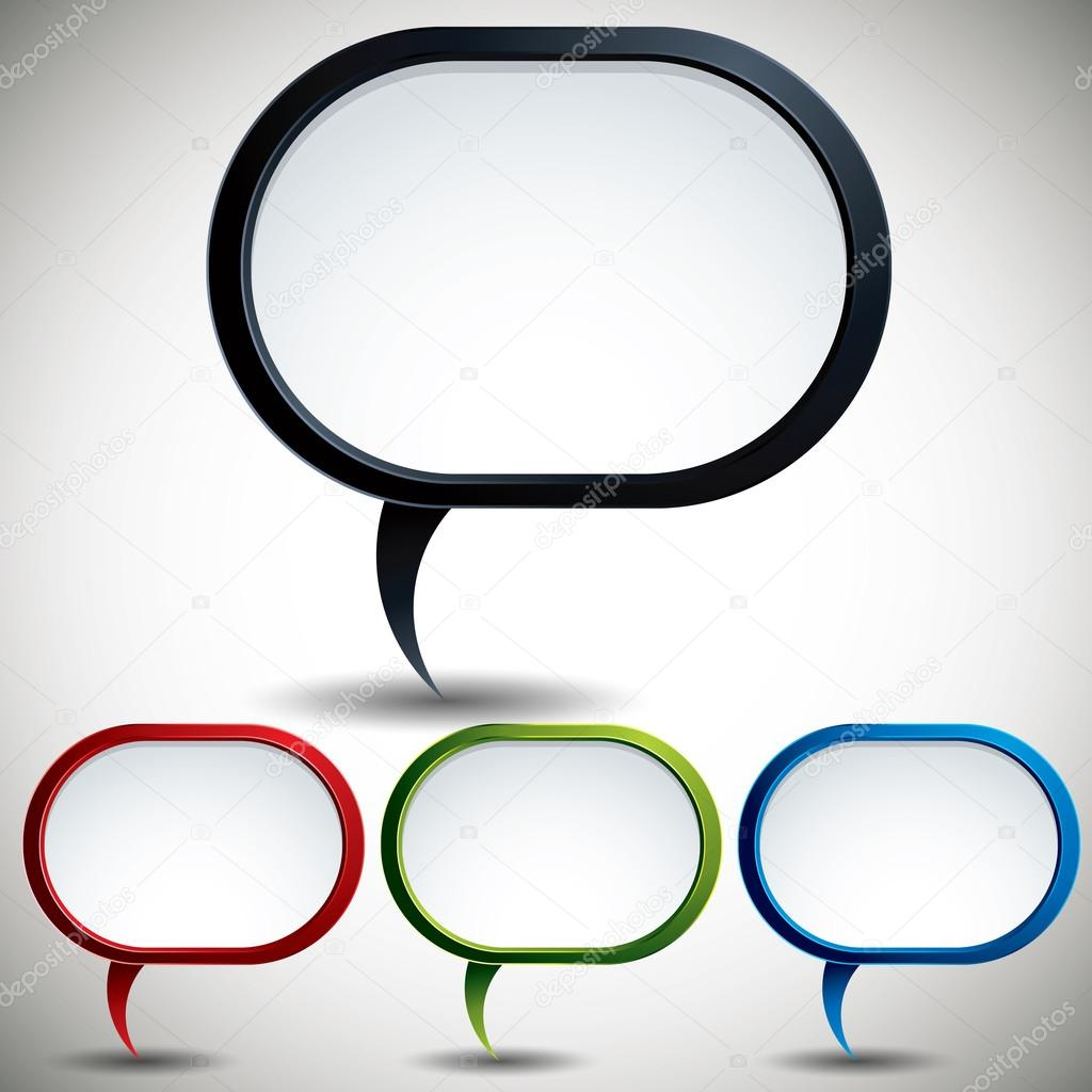 Abstract modern style speech bubble vector backgrounds color versions set.  Stock Vector #12768527